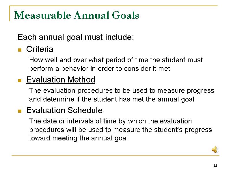 Measurable Annual Goals : Slide12